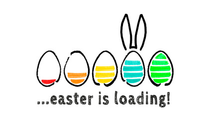 Easter is loading concept isolated on white.