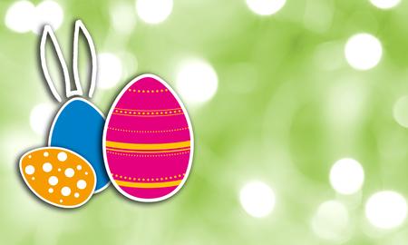 Easter concept against green background. Imagens