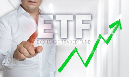 ETF touchscreen concept is operated by man.