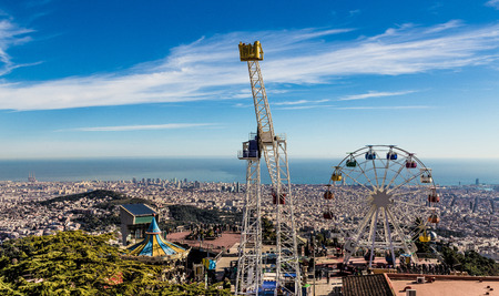 Tibidabo Theme Park Panorama Barcelona Spain Europe. Stock Photo