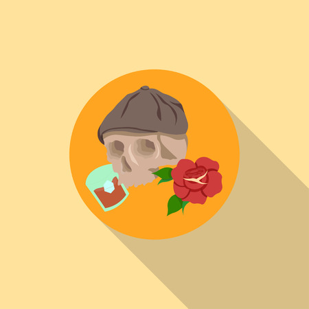 Skull in hat with rose and whiskey