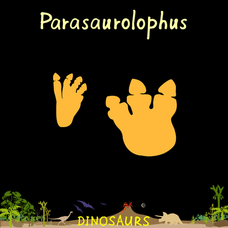 Parasaurolophus dinosaur fossil footprint in prehistoric landscape background Vector Illustration.
