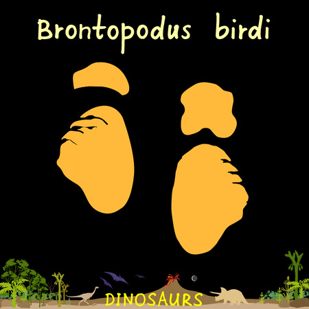 brontopodus birdi dinosaur fossil footprint in prehistoric landscape background Vector Illustration