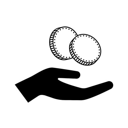 Ikone der Hand einige Münzen, Zahlung, Spendenkonzeptillustration halten.