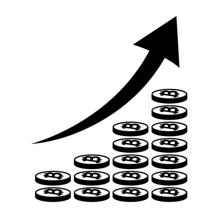 Vertical bar graph, diagram representing bitcoin growth icon. Arrow graph going up over stacks of bitcoins. Vector illustration Illustration