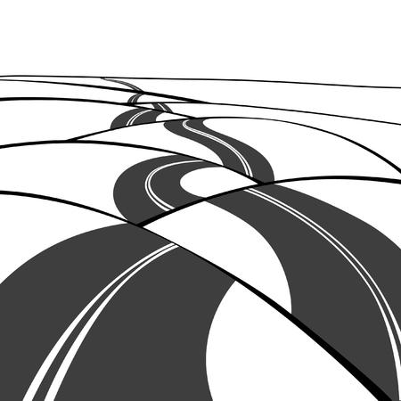 Una strada curva del catrame attraverso l'illustrazione di vettore delle colline