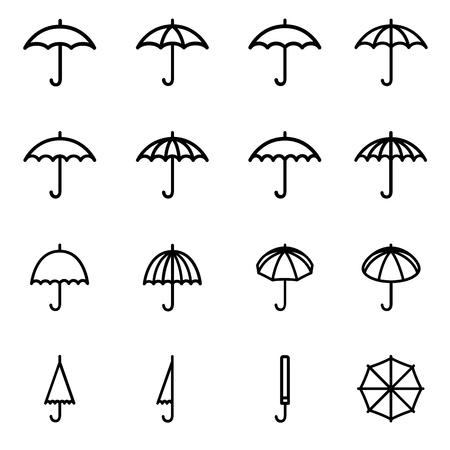 Set 1 of line icons representing umbrella