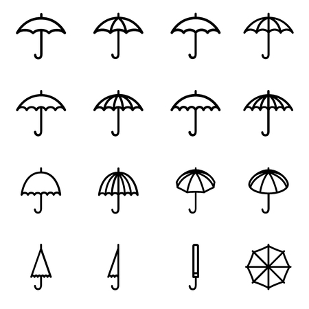 Set 1 of line icons representing umbrella