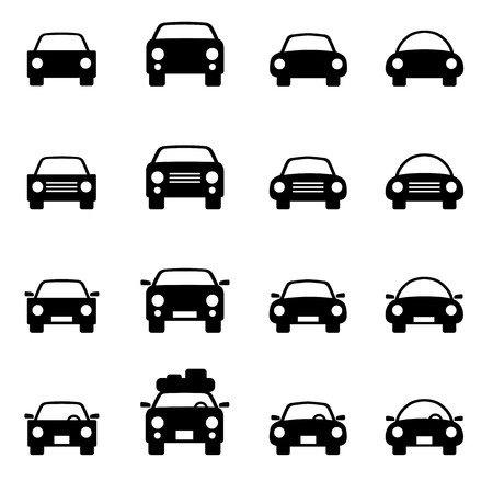 Set 1 of icons representing car Vector Illustration Çizim