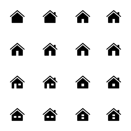 Set 1 of line icons representing house Vector Illustration