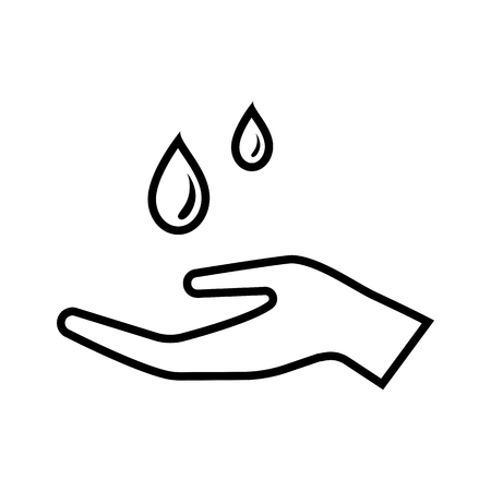Line icon with drops of liquid falling on hand.