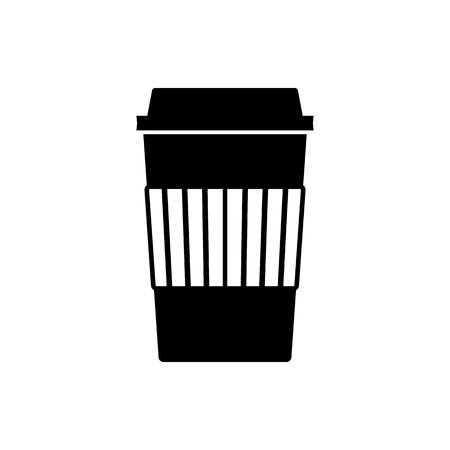 Disposable coffee or tea cup icon. Hot beverage paper cup with lid and corrugated sleeve. Vector Illustration.