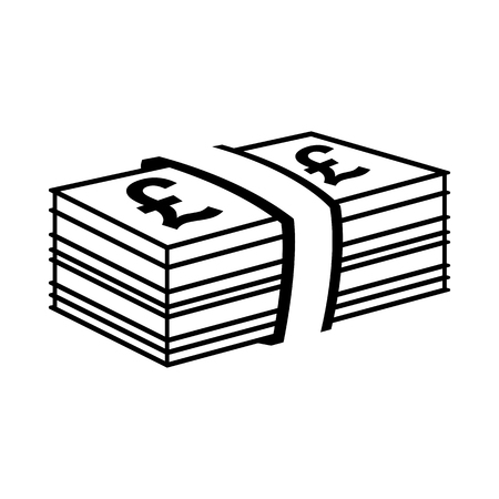 Pile of pound sterling bills. Banknotes with pound sterling signs and bank strap. Vector Illustration