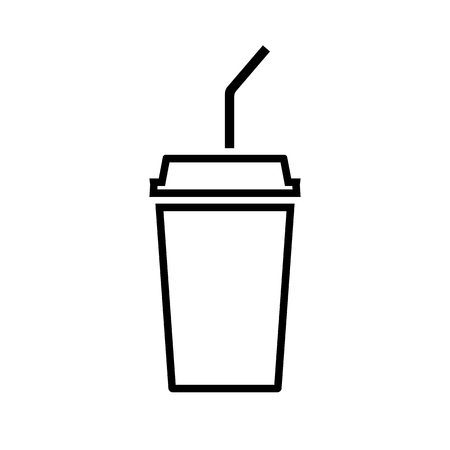 Disposable beverage cup line icon. Drink paper cup with lid and straw vector illustration.