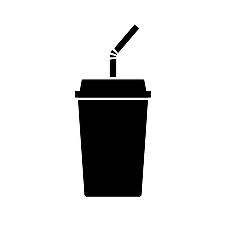 Disposable beverage cup icon. Drink paper cup with lid and straw vector illustration.