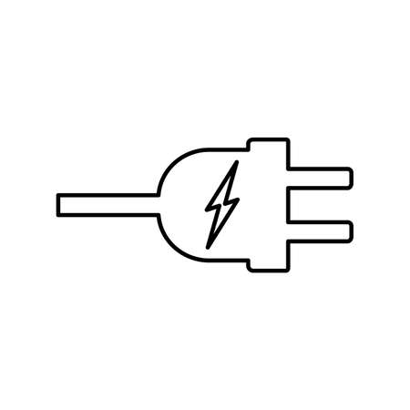 Electric plug with electricity symbol line icon Vector Illustration.