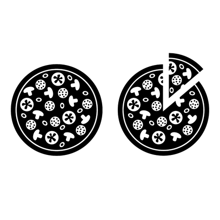 Whole pizza and pizza with separate slice icons. Vector Illustration Vettoriali