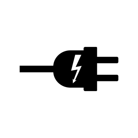 Electric plug with electricity symbol icon vector illustration.