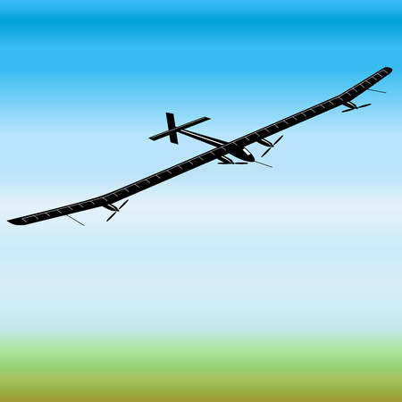 Solar energy powered airplane. Vector Illustration Иллюстрация