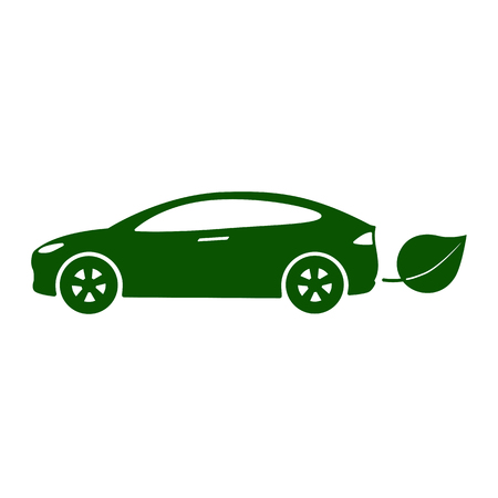 Electric car, bio fuel, eco-friendly vehicle icon Vector Illustration