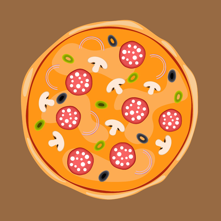 Whole pizza with toppings of onions, black and green olives, mushrooms, salami or pepperoni. Vector Illustration