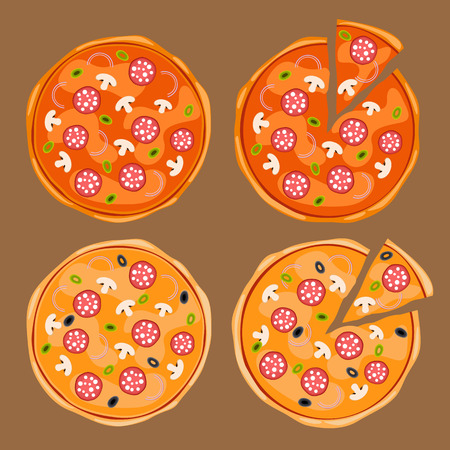 Whole pizza and pizza with slice set