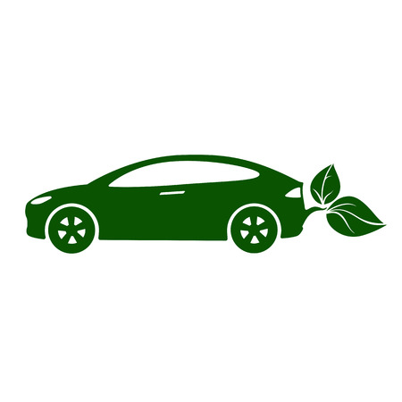 Electric car, eco-friendly vehicle icon  Illustration. Ilustracja