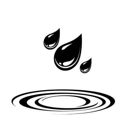 Water drops and water spash circles icon. Vector Illustration
