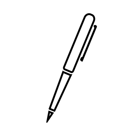 Ballpoint pen line icon. Simple ball pen with pocket clip. Vector Illustration Ilustração
