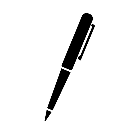 Ballpoint pen icon. Simple ball pen with pocket clip. Vector Illustration Çizim