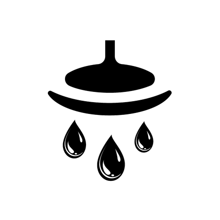 Showerhead and water drops. Vector Illustration