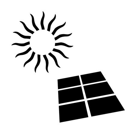 Shining sun and solar battery, alternative energy supply source icon. Vector Illustration