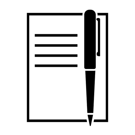 Pen and copybook icon vector illustration