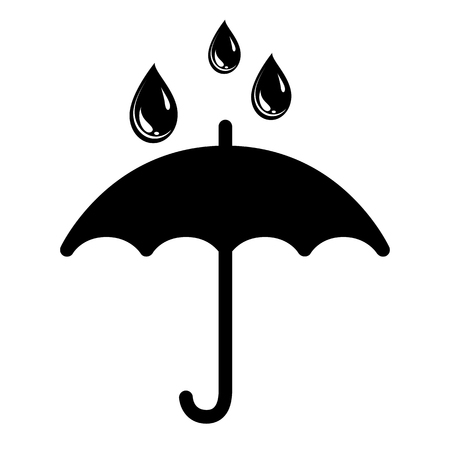 Umbrella and rain drops icon Vector Illustration