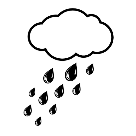 Cloud and rain drops icon Vector Illustration