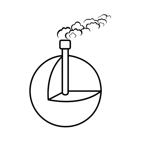 Geothermal energy, alternative energy supply source line icon vector illustration.