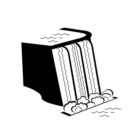 Hydropower derived from energy of falling water. Alternative energy supply source icon. Vector Illustration Illustration