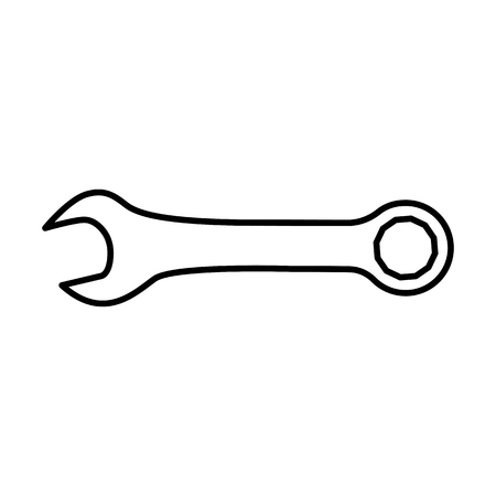 Wrench or spanner icon. Combination wrench with open and ring ends. Vector Illustration