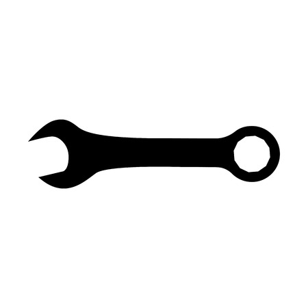 Wrench or spanner icon, Combination wrench with open and ring ends.