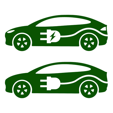 Electric car, icon Vector Illustration. Side view of electric car, cable and plug.