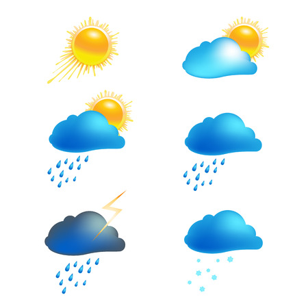 Set of weather icons. Sunny, cloudy, rainy and snowy weather, thunderstorm signs for weather information and forecast. Vector Illustration