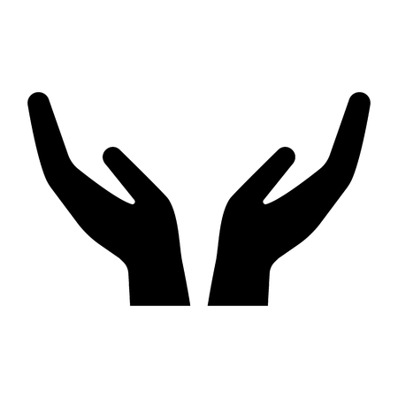 Care icon with hands gesture. Cupped hands symbolizing support, care, protection. Vector Illustration Vettoriali