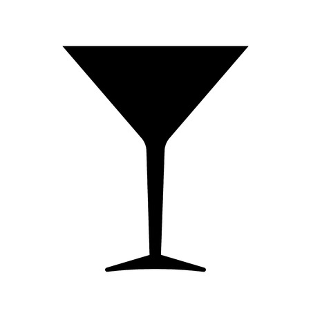 Cocktail glass icon. Inverted cone bowl glass for cocktails, mixed drinks and vermouth. Vector Illustration