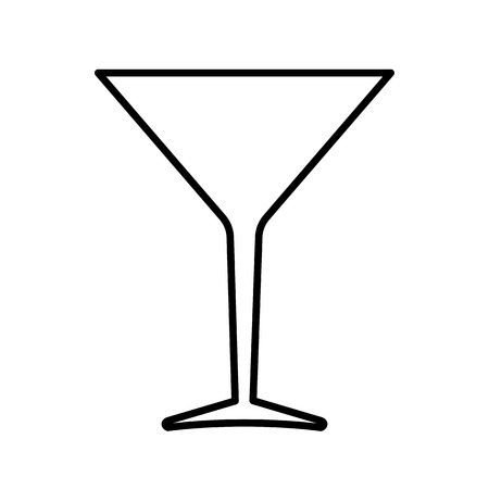 Cocktail glass line icon. Inverted cone bowl glass for cocktails, mixed drinks and vermouth. Vector Illustration
