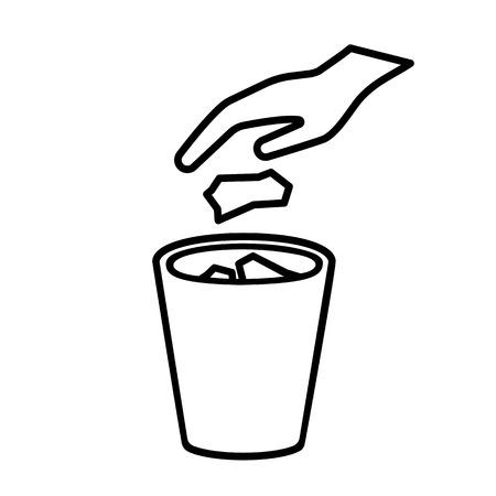 Aucune icône de ligne de détritus. Jetant à la main des ordures, des ordures, des déchets dans la corbeille. Illustration vectorielle