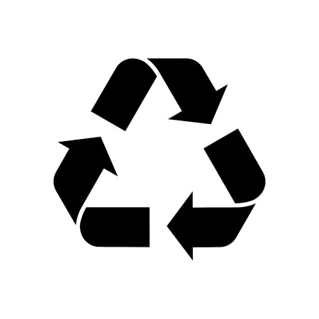 Recycling icon. Symbol for recyclable products or those made of recycled materials. Classical triangle shape. Vector Illustration