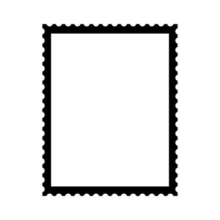 Postal stamp template. Blank postal stamp with perforation holes. Vector Illustration Ilustração