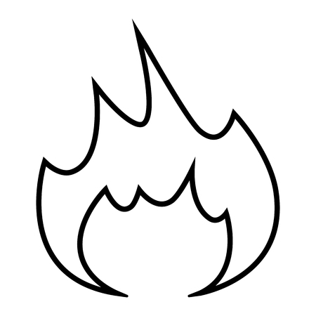 Fire flame line icon. Symbol of inflammable goods or materials liable to catch fire. Vector Illustration Ilustração