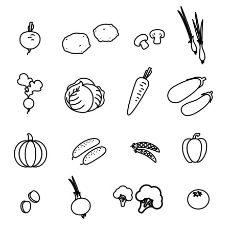 Set of vegetable icons Vector Illustration isolated on plain background.