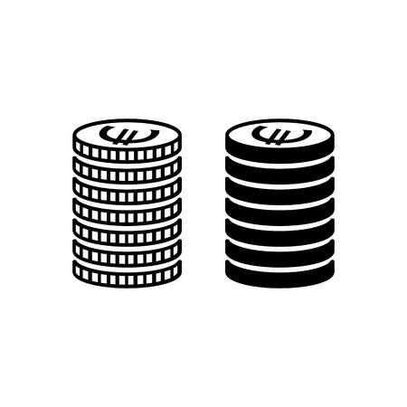 Stack of euro coins. Piled coins with euro signs with different edges. Vector Illustration Ilustração